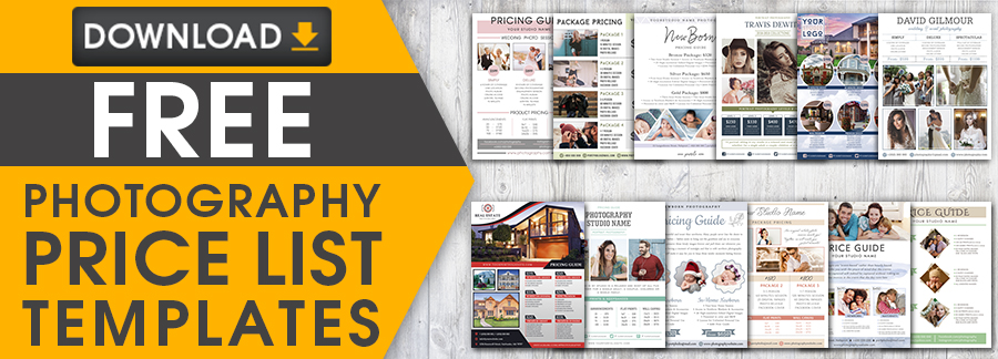 free photography price list templates download