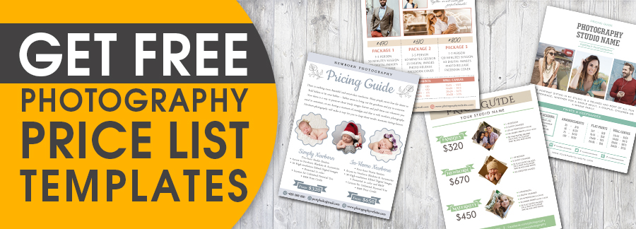 get free photography price list templates