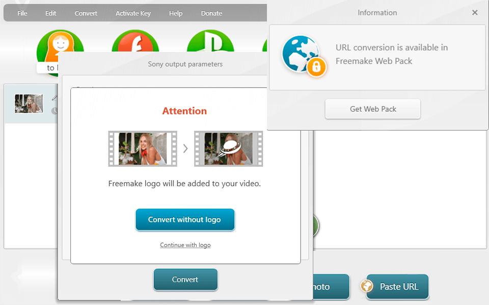 freemake video converter no watermark interface