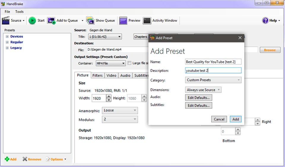 handbrake video converter no watermark interface