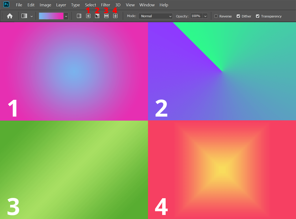 how to make a gradient in photoshop types