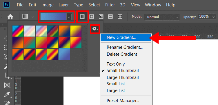 how to make a gradient in photoshop open more gradients