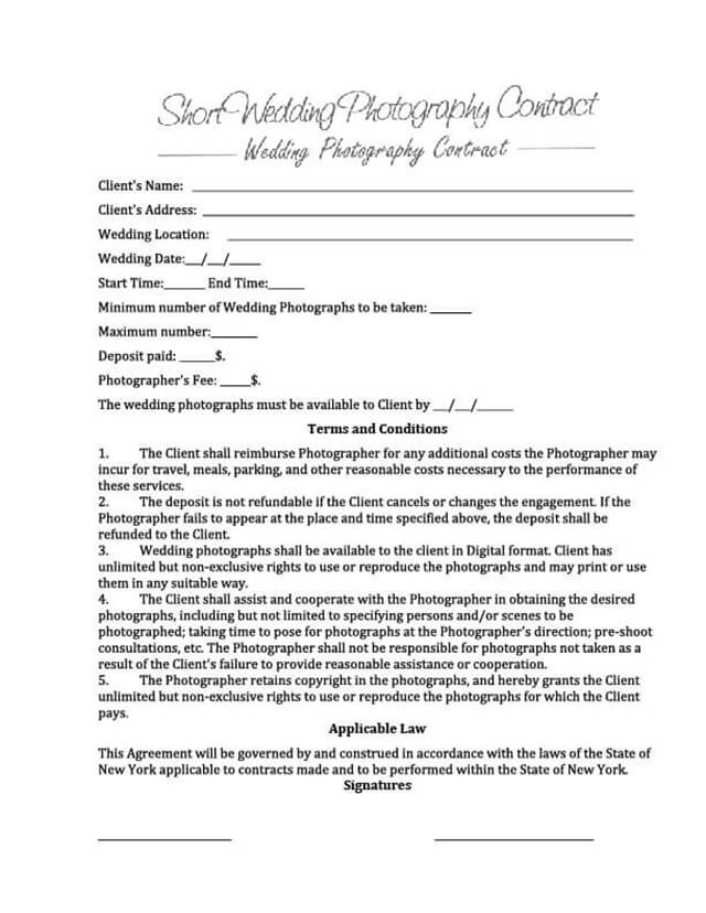 9 FREE Wedding Photography Contract Templates