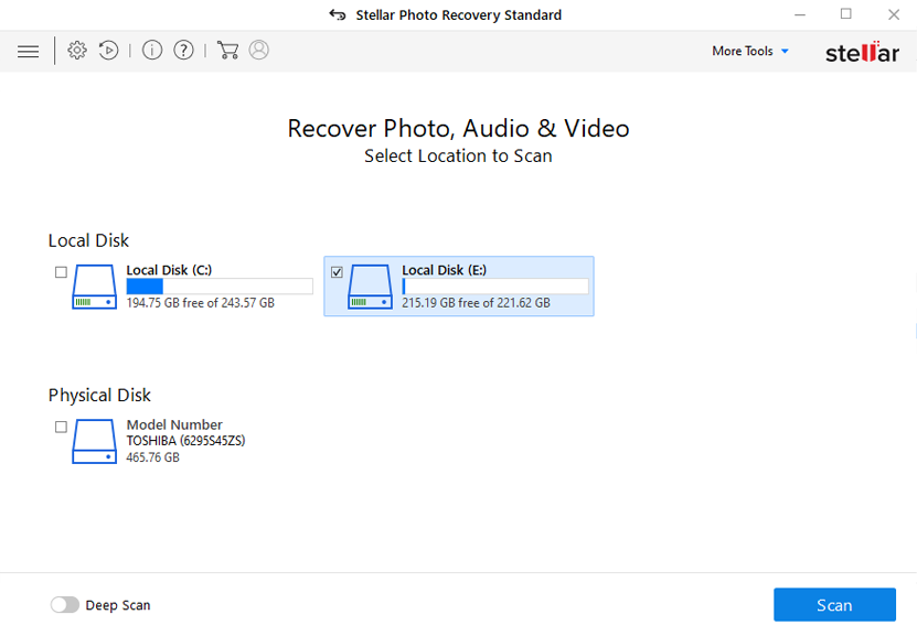 stellar photo recovery software interface
