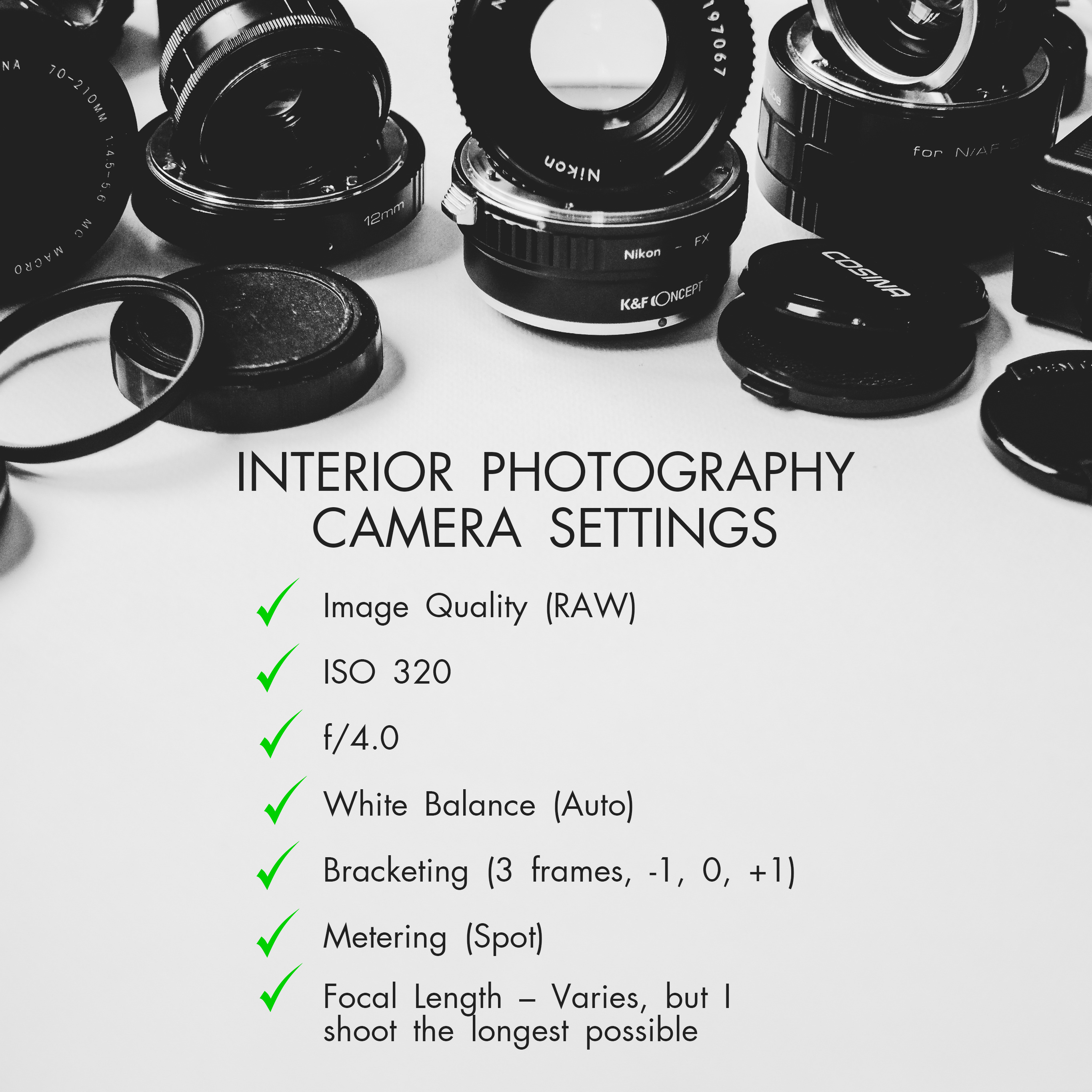 camera settings for real estate photography interior
