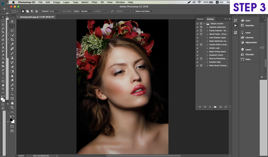 how to install on photoshop actions on Mac step 3