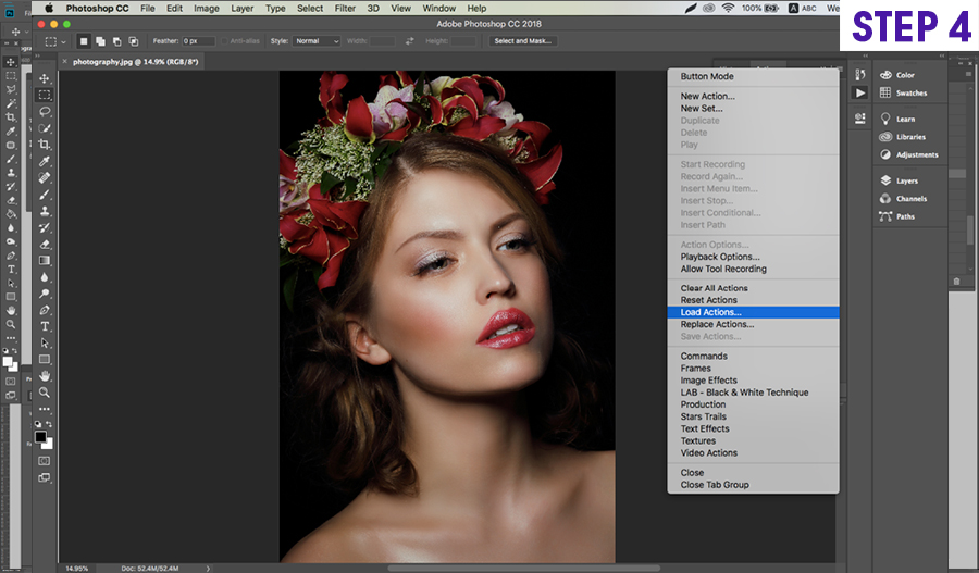 how to install on photoshop actions on Mac step 4