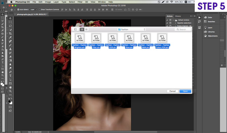 how to install on photoshop actions on Mac step 5