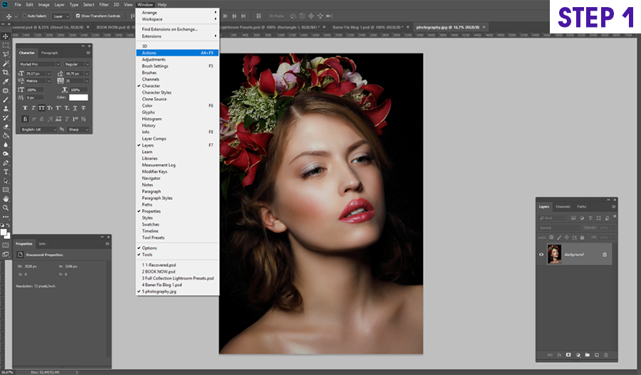 how to install on photoshop actions on Windows step 1