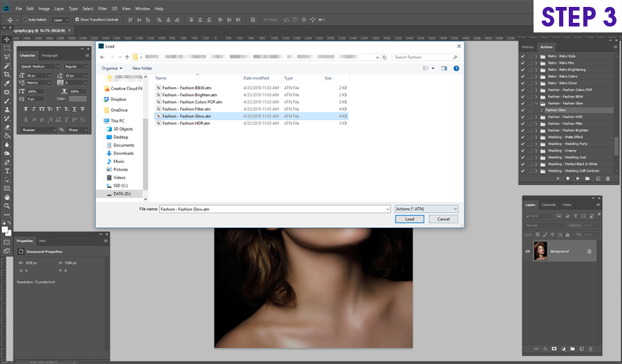 how to install on photoshop actions on Windows step 3