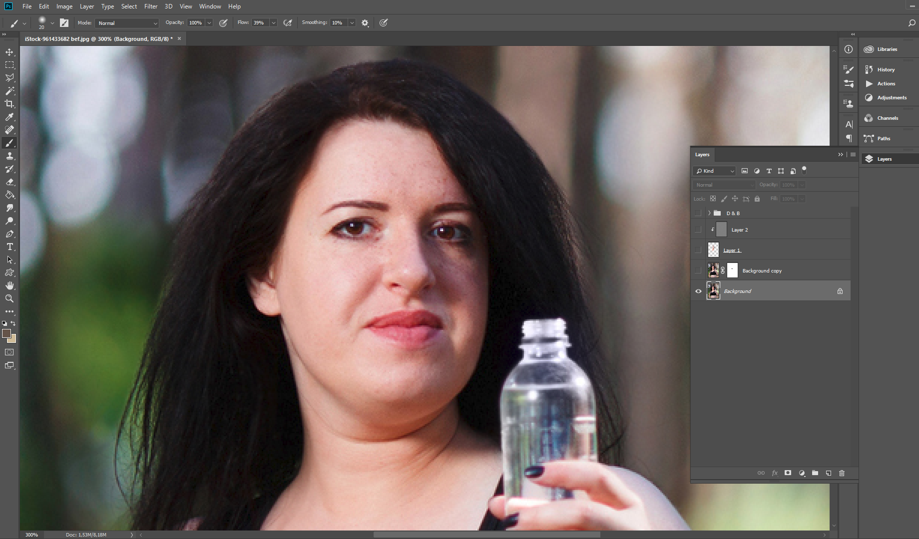 photoshop how to remove double chin
