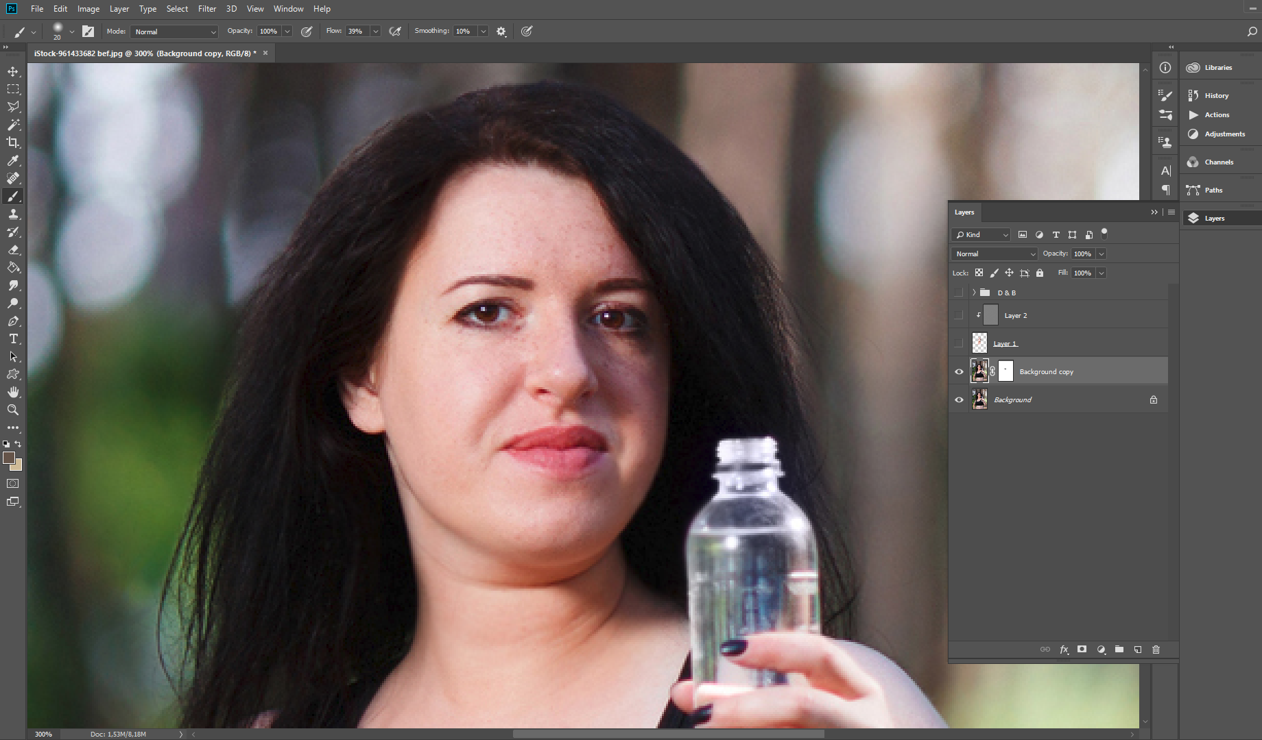 remove double chin photoshop liquify