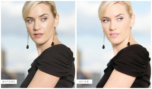 Kate Winslet before-after Photoshop