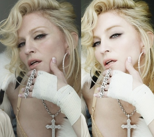 Madonna before-after Photoshop