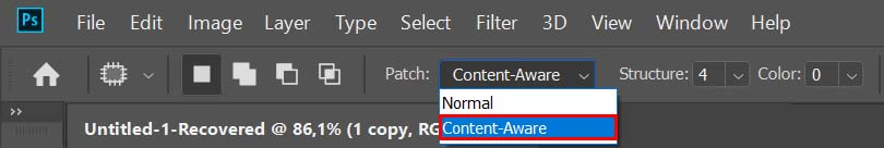remove shadows in photoshop content aware patch tool