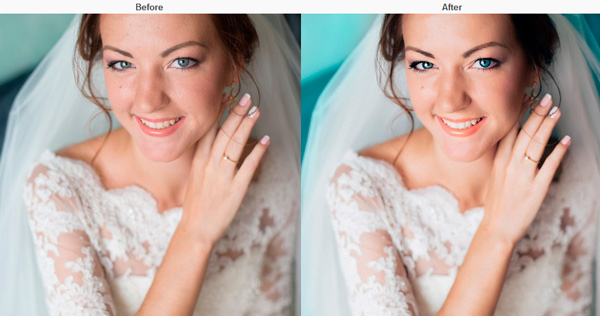 Minimal retouch for wedding photo