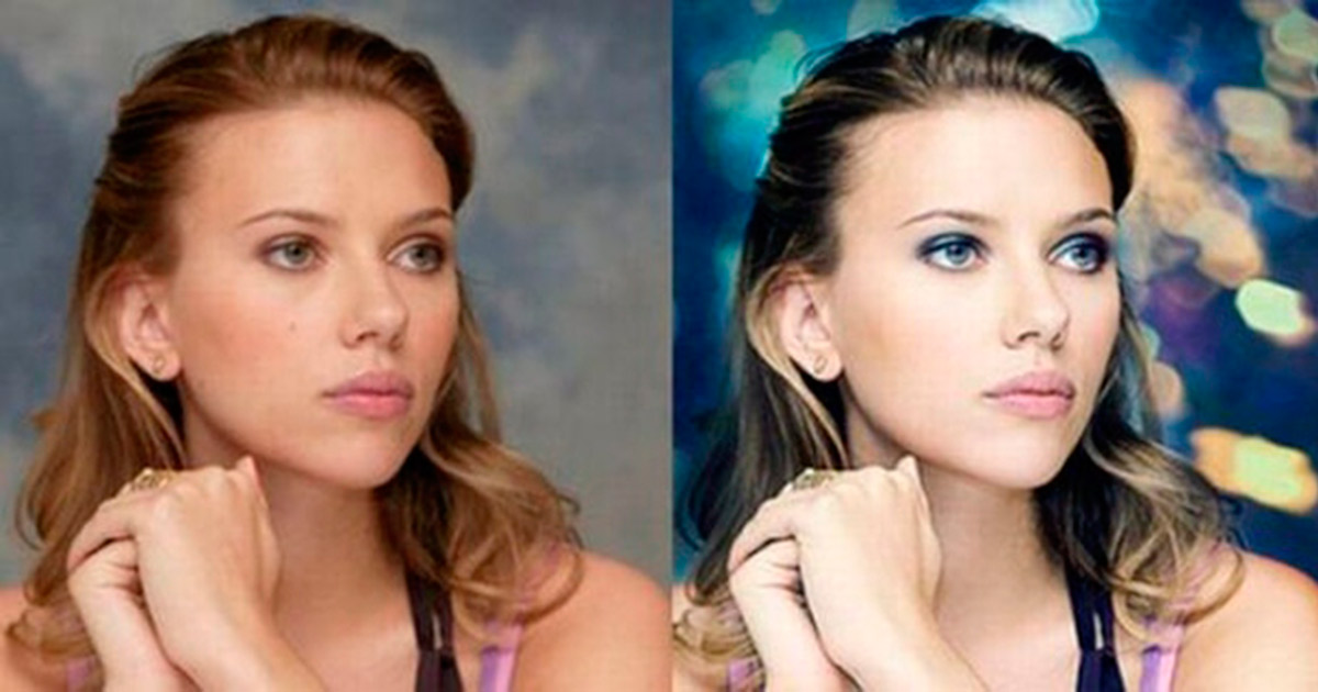 Natural and retouched beauty of celebrities